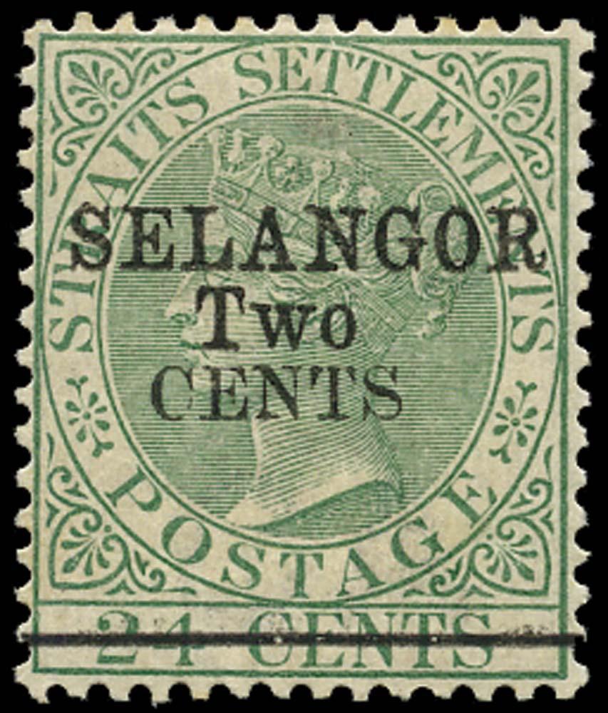 MALAYA - SELANGOR 1891  SG48 Mint 2c on 24c green type 39 surcharge
