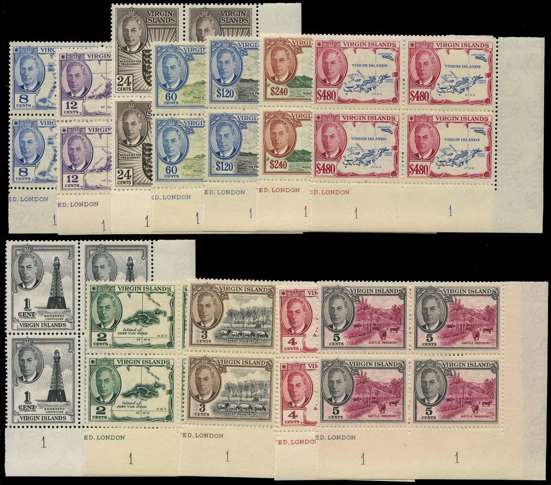 VIRGIN ISLANDS 1952  SG136/47 Mint KGVI set of 12 to $4.80 unmounted