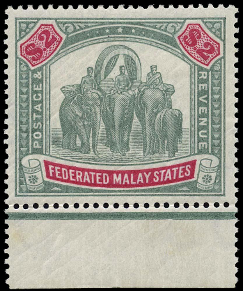 MALAYA - F.M.S. 1900  SG24 Mint $2 green and carmine watermark CC
