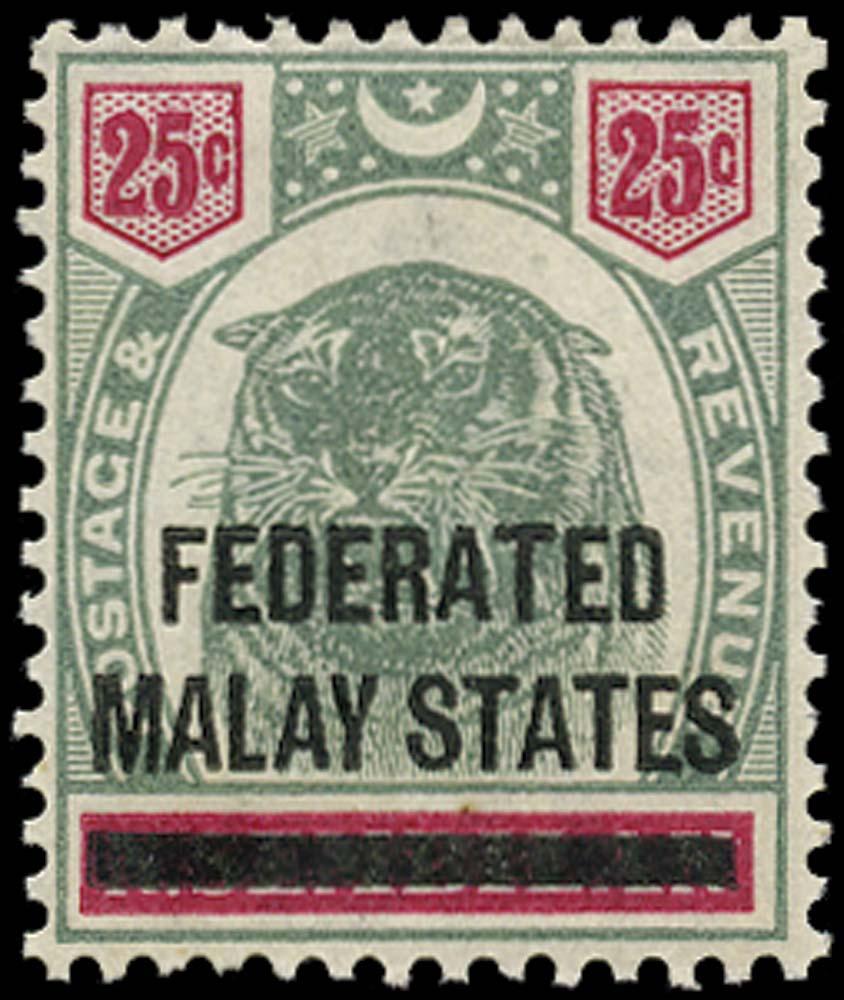 MALAYA - F.M.S. 1900  SG7 Mint 25c type 1 overprint on Negri Semilan