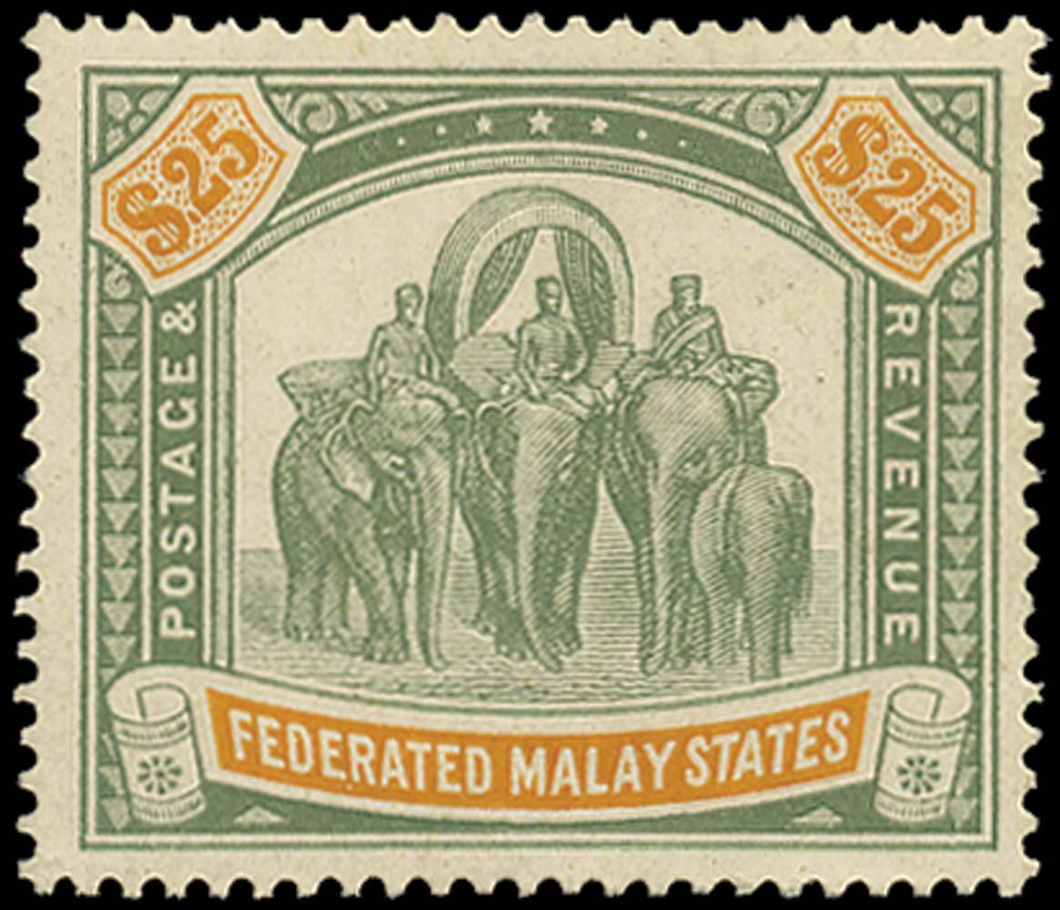 MALAYA - F.M.S. 1904  SG51 Mint $25 green and orange watermark MCA