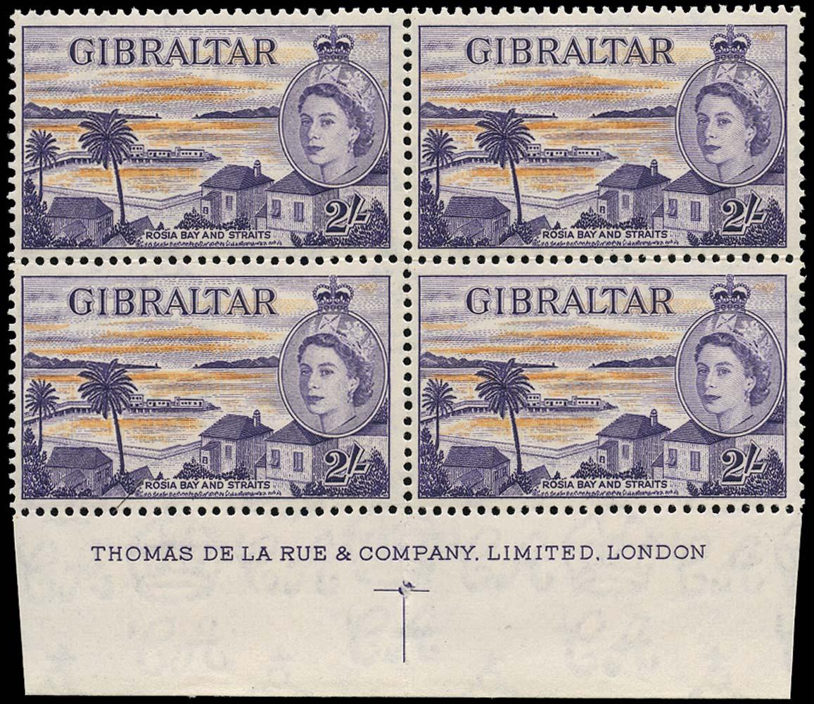 GIBRALTAR 1953  SG155a Mint 2s imprint block of 4