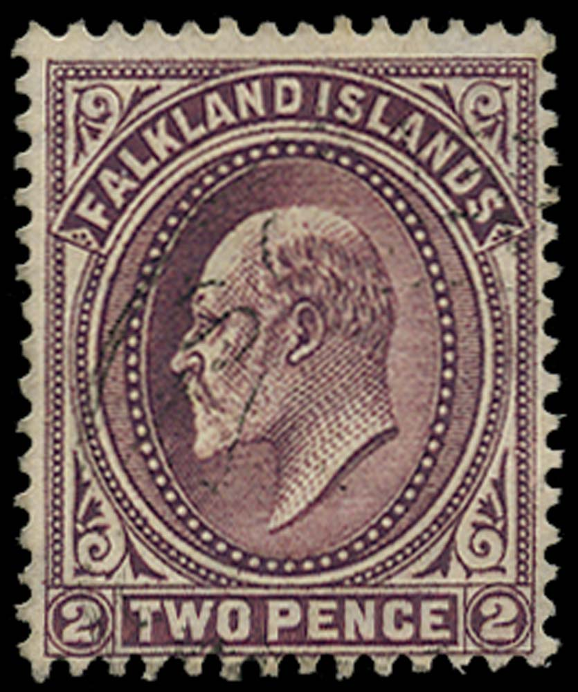 FALKLAND ISLANDS 1904  SG45ax Used 2d purple watermark reversed