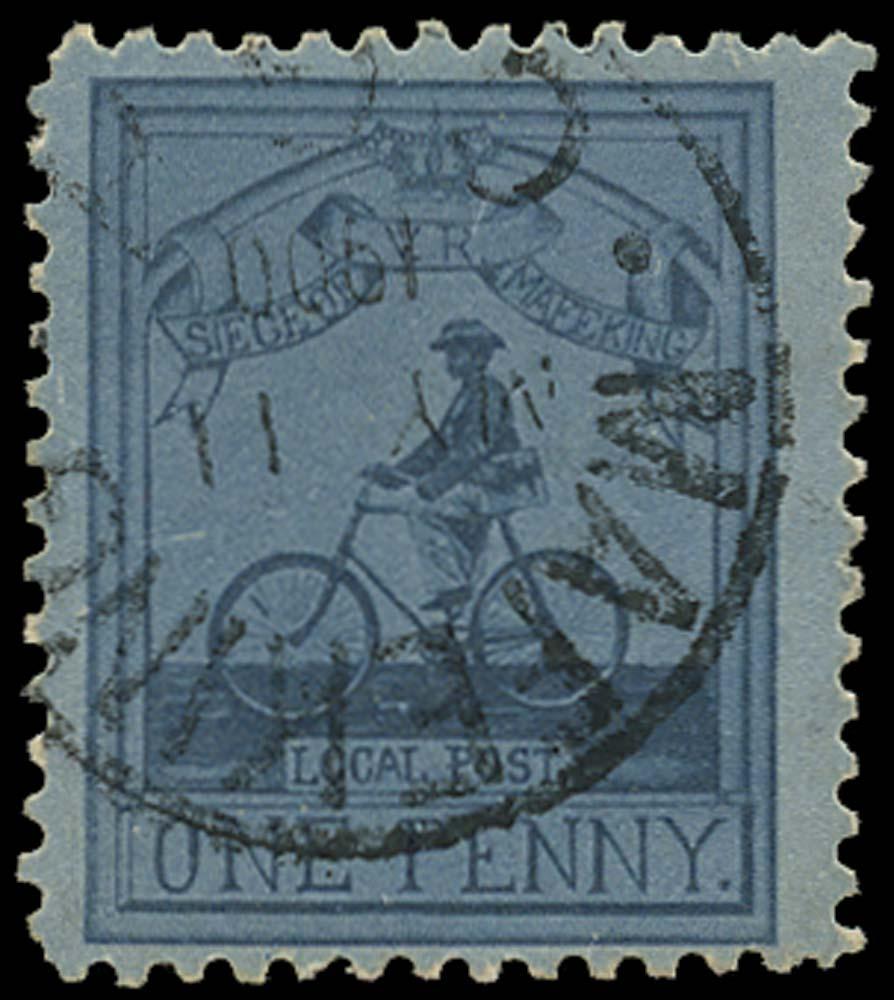 C.G.H. - MAFEKING 1906  SG17 Used 1d pale blue/blue cyclist