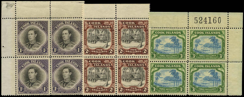 COOK ISLANDS 1938  SG127/29 Mint watermark 43 of New Zealand