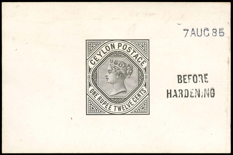 CEYLON 1885  SG201 Proof 1r12 die proof in black on glazed card