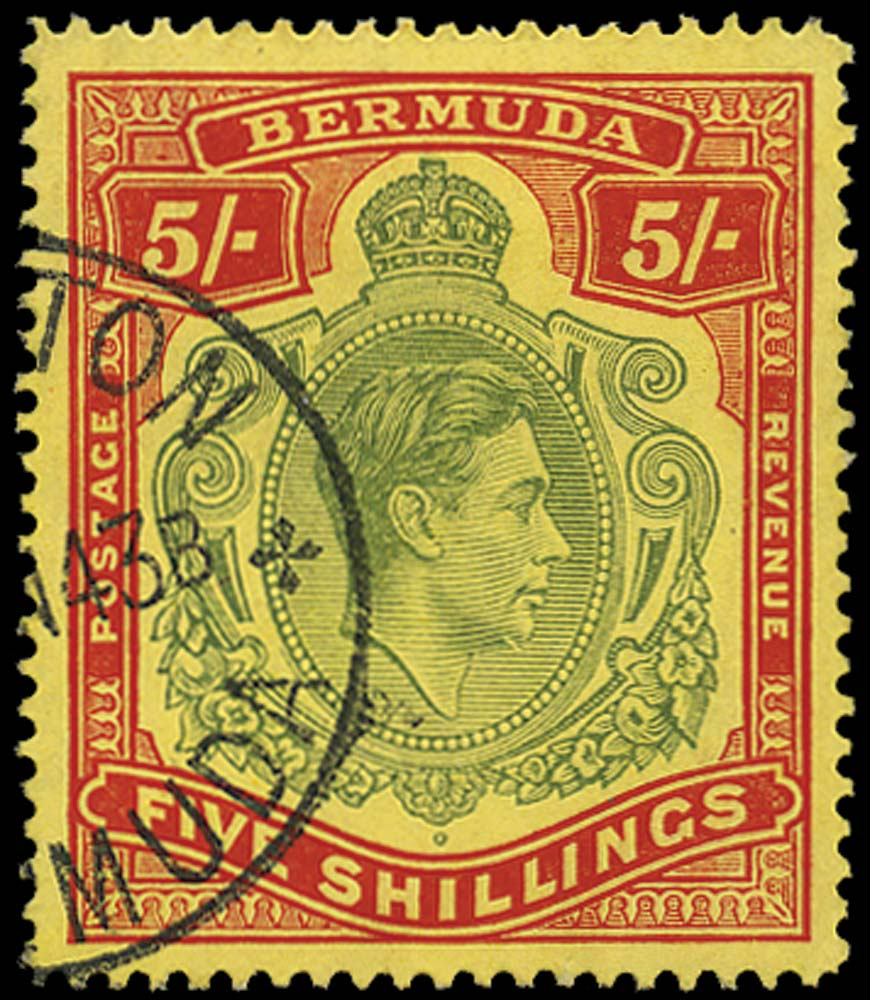 BERMUDA 1938  SG118bf Used 5s perf 14¼ Gash in Chin
