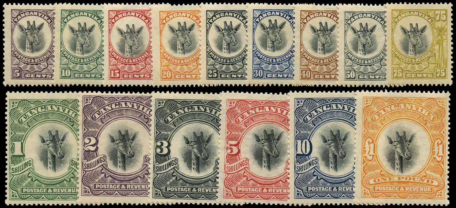 TANGANYIKA 1922  SG74/88a Mint Giraffe set of 15 to £1