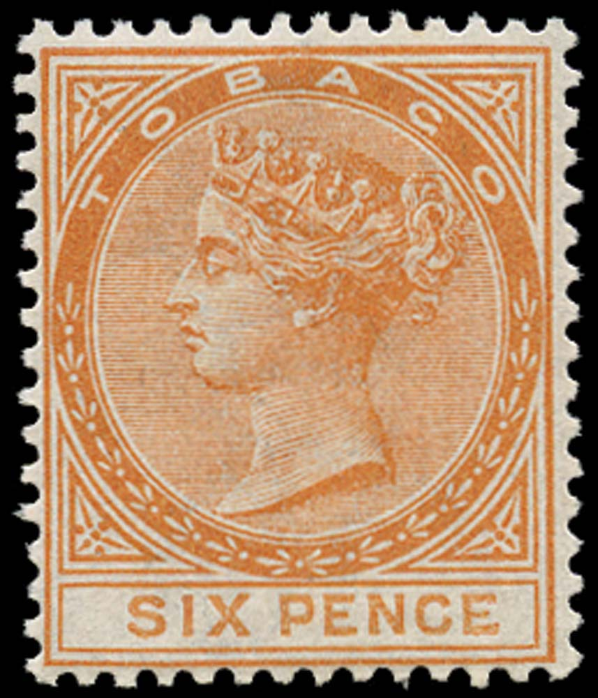 TOBAGO 1879  SG3 Mint 6d orange type 1 watermark CC