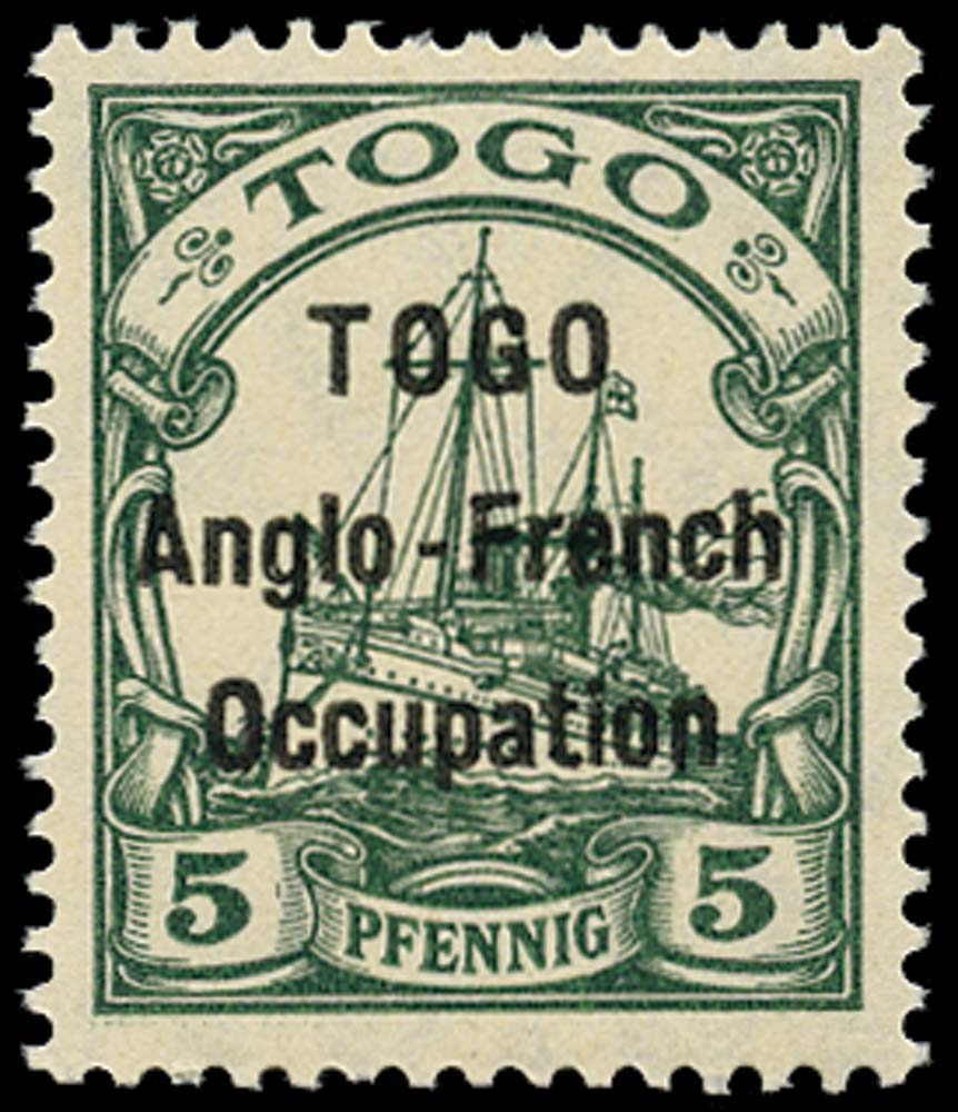 TOGO 1914  SGH2 Mint 5pf green type 1 overprint unmounted