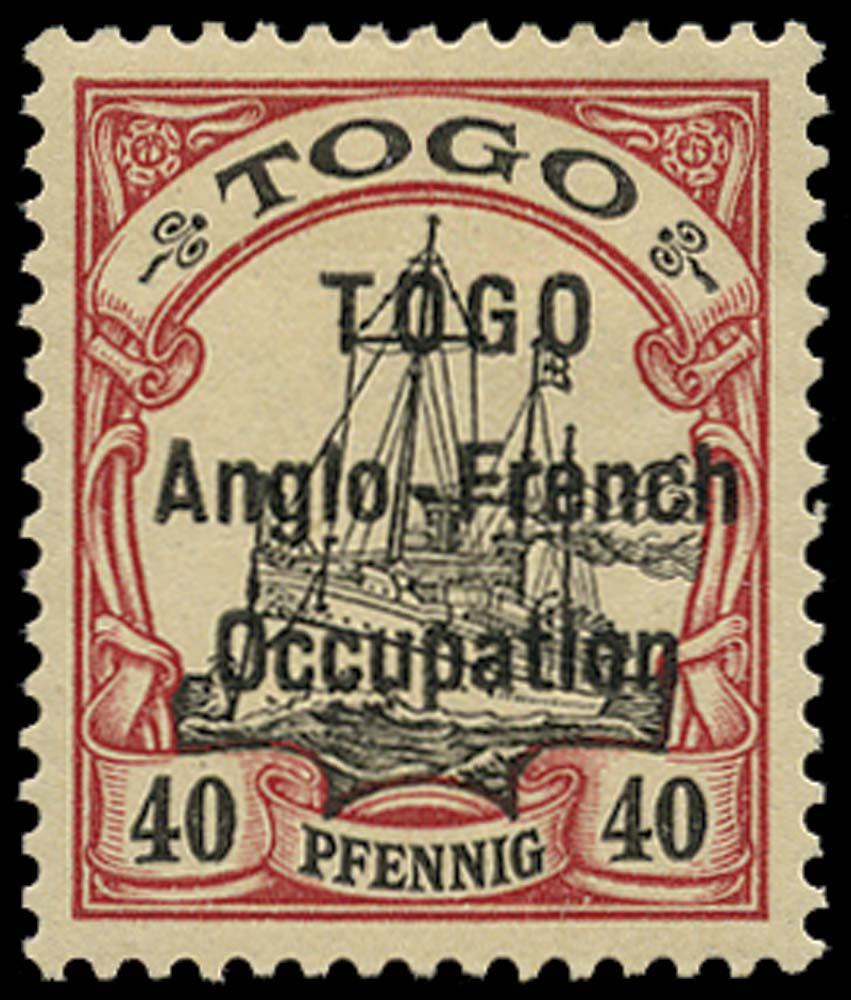 TOGO 1914  SGH7 Mint 40pf black and carmine type 1 overprint