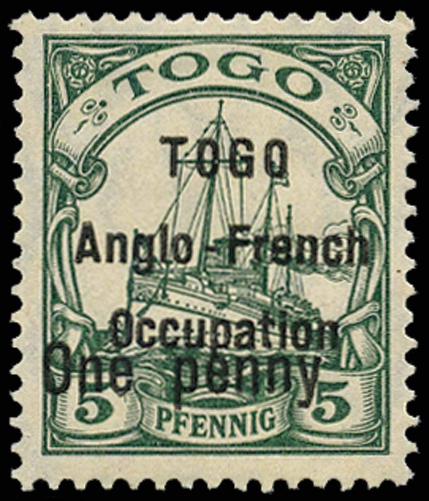 TOGO 1914  SGH13 Mint 1d on 5pf green type 2 surcharge