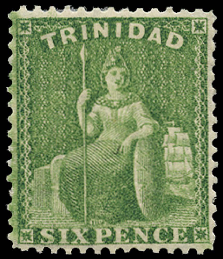 TRINIDAD 1863  SG77 Mint 6d yellow-green watermark CC perf 14