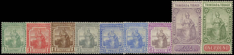 TRINIDAD & TOBAGO 1921  SG206/15 Mint Script watermark set of 9 to £1