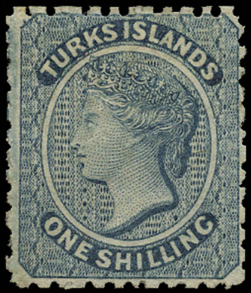TURKS ISLANDS 1867  SG3 Mint 1s dull blue no watermark
