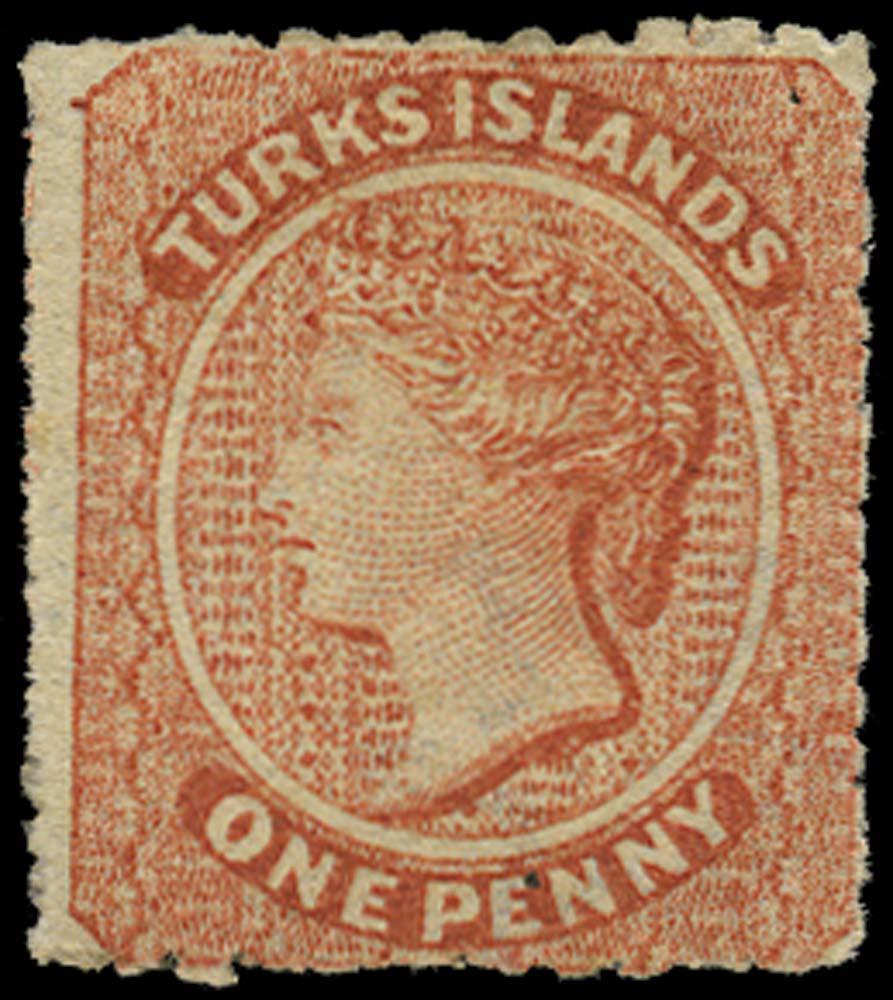 TURKS ISLANDS 1873  SG5 Mint 1d dull red watermark small star