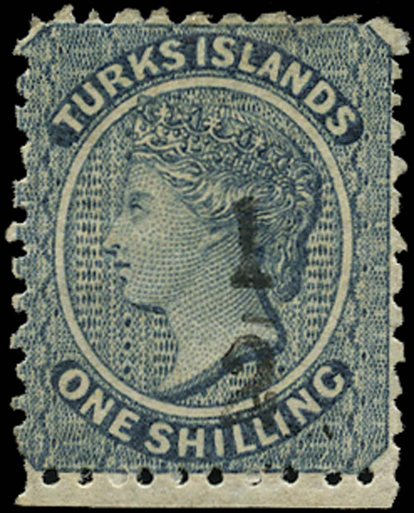 TURKS ISLANDS 1881  SG9 Mint ½ on 1s dull blue type 3 surcharge