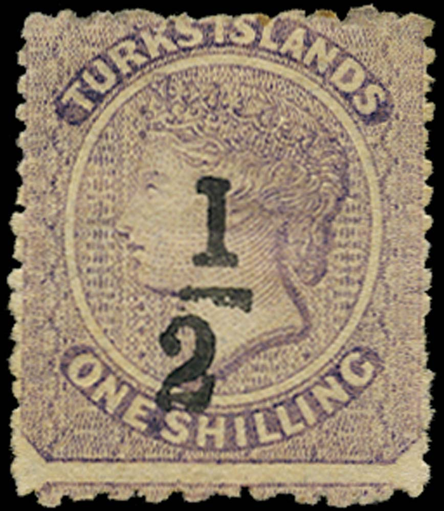 TURKS ISLANDS 1881  SG12 Mint ½ on 1s lilac type 4 surcharge