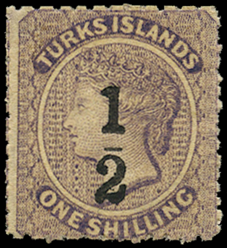 TURKS ISLANDS 1881  SG14 Mint ½ on 1s lilac type 6 surcharge