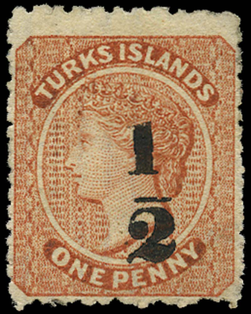 TURKS ISLANDS 1881  SG21 Mint ½ on 1d dull red type 11 surcharge