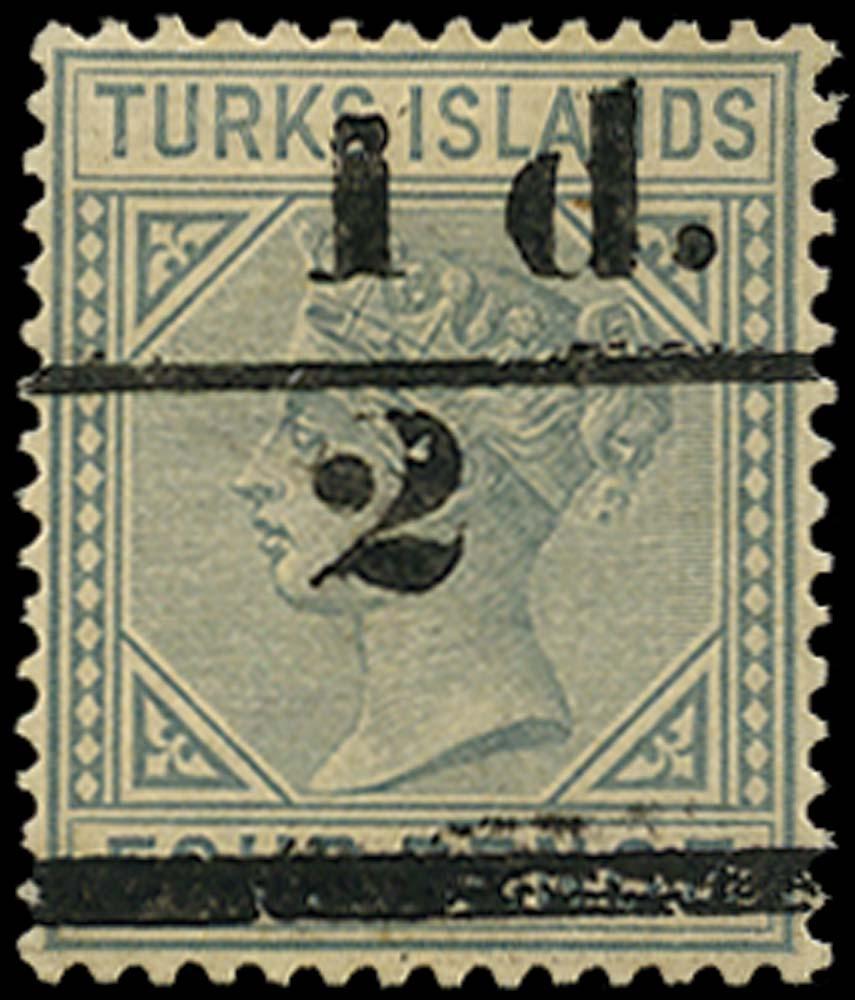 TURKS ISLANDS 1893  SG68 Mint ½d on 4d grey setting 3