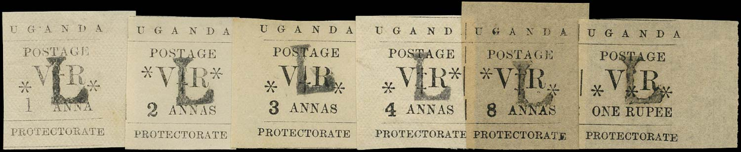 UGANDA 1896  SG70/75 Mint Typeset short set to 1r overprinted L