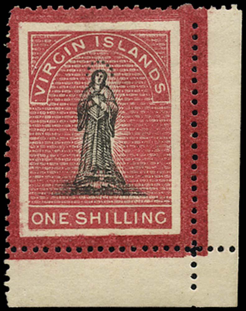 VIRGIN ISLANDS 1867  SG18 Mint 1s crimson frames superimposed white paper