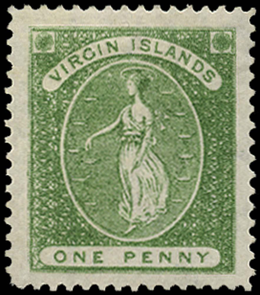 VIRGIN ISLANDS 1878  SG22b Mint 1d green watermark CC upright