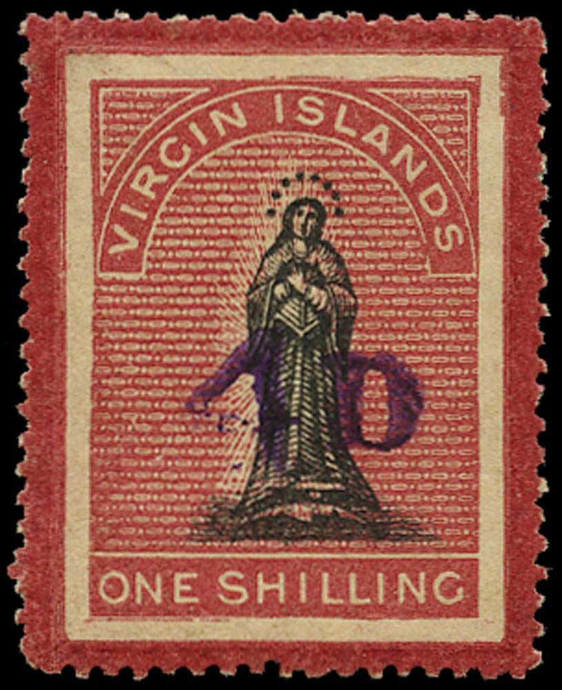 VIRGIN ISLANDS 1888  SG42 Mint 4d on 1s black and rose-carmine on toned paper