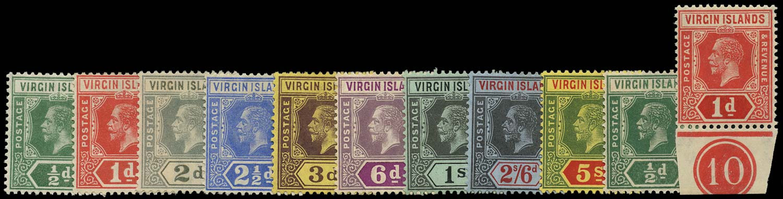 VIRGIN ISLANDS 1913  SG69/77, 80/1 Mint wmk MCA set plus Script wmk ½d, 1d