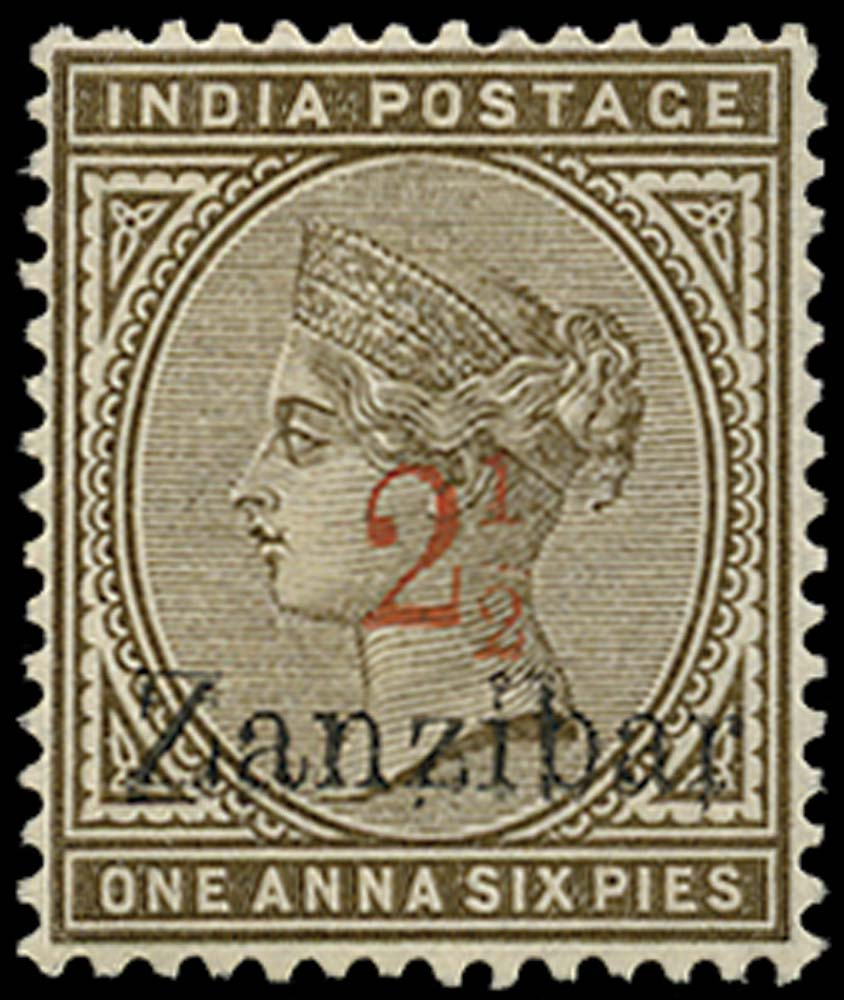 ZANZIBAR 1895  SG22 Mint 2½ on 1a6p sepia type 2 surcharge