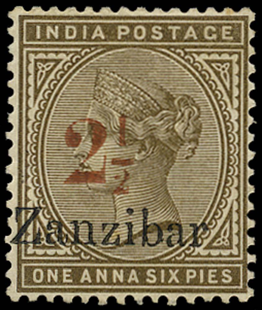 ZANZIBAR 1896  SG30 Mint 2½ on 1a6p sepia type 7 surcharge