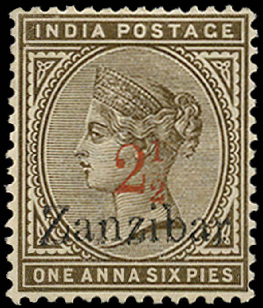 ZANZIBAR 1896  SG22 Mint 2½ on 1a6p sepia type 2 surcharge
