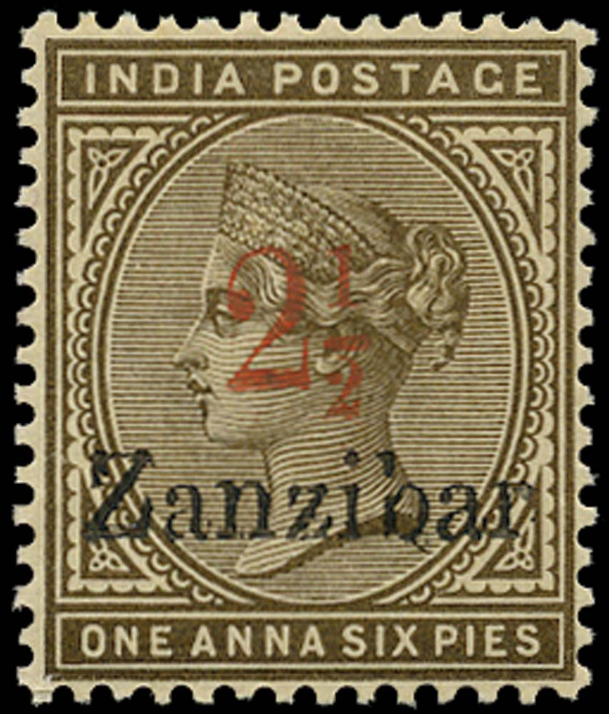ZANZIBAR 1896  SG29 Mint 2½ on 1a6p sepia type 6 surcharge