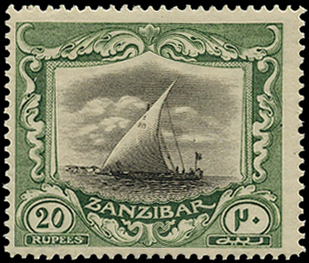ZANZIBAR 1921  SG296 Mint 20r black and green Script watermark