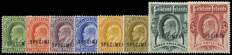 FALKLAND ISLANDS 1904  SG43s/50s Specimen KEVII set to 5s