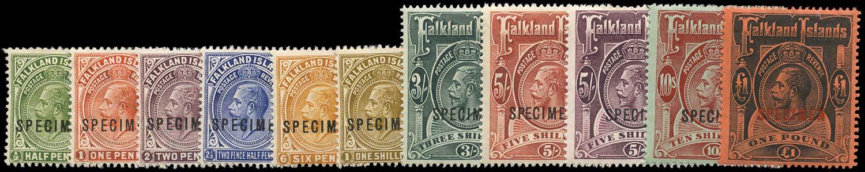 FALKLAND ISLANDS 1912  SG60s/69s Specimen watermark MCA set of 11