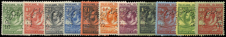 FALKLAND ISLANDS 1929  SG116s/29s Specimen Whale and Penguin set of 11