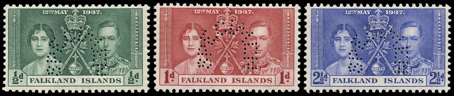FALKLAND ISLANDS 1937  SG143s/45s Specimen Coronation set of 3