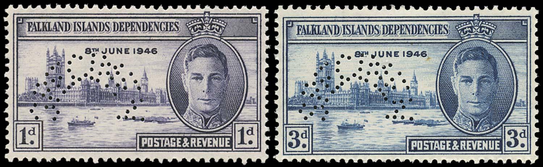 FALKLAND ISLAND DEPS 1946  SGG17s/18s Specimen Victory set