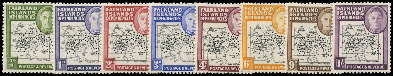 FALKLAND ISLAND DEPS 1946  SGG1s/8s Specimen Thick Map set of 8