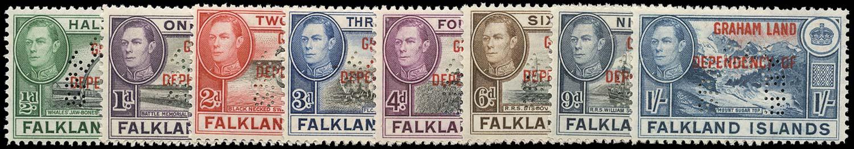 FALKLAND ISLAND DEPS 1944  SGA1s/8s Specimen Graham Land set of 8