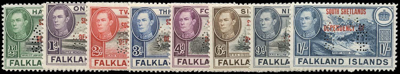 FALKLAND ISLAND DEPS 1944  SGD1s/8s Specimen South Shetlands set of 8