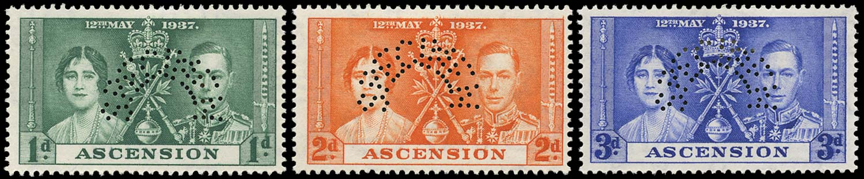ASCENSION 1937  SG35s/37s Specimen Coronation set of 3