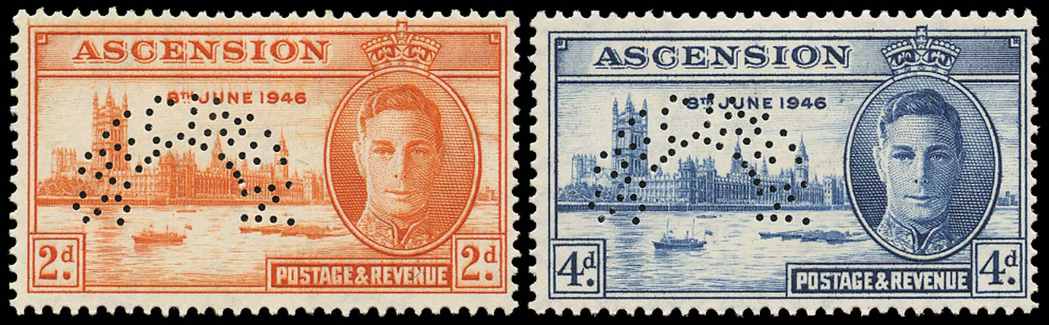 ASCENSION 1946  SG48s/49s Specimen Victory pair