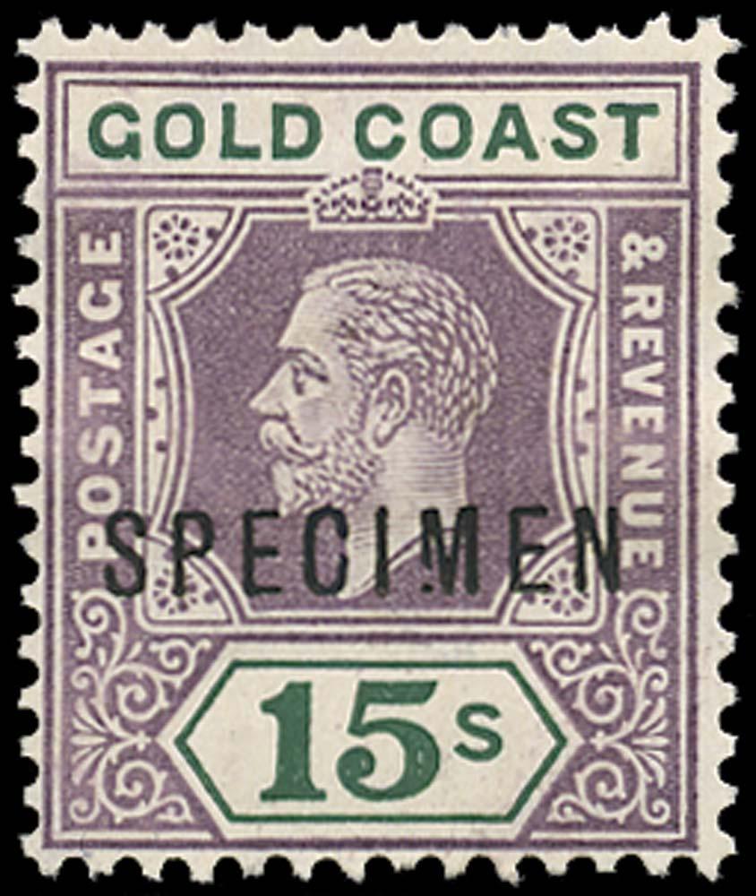 GOLD COAST 1921  SG100s var Specimen Script watermark 15s Broken M