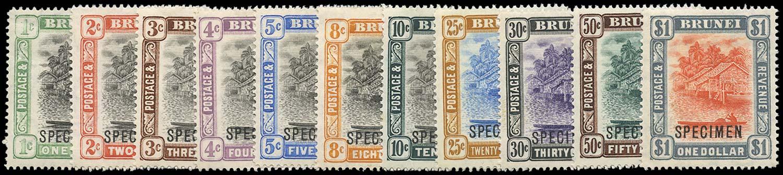 BRUNEI 1907  SG23xs/33s Specimen 1c and 2c with reversed watermark