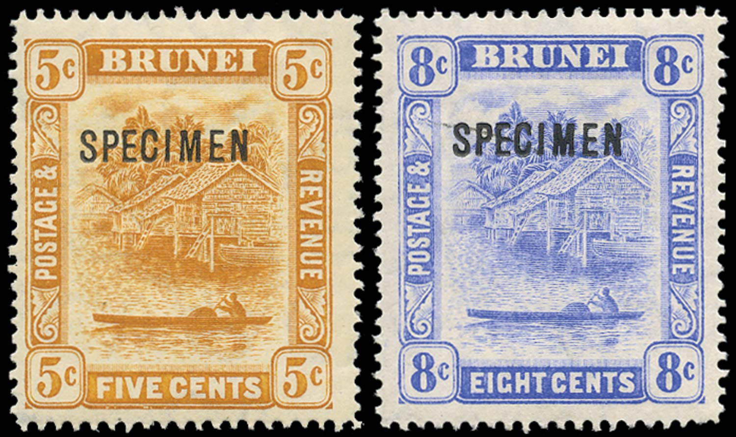 BRUNEI 1916  SG49s/50s Specimen 5c, 8c changed colours from single plates