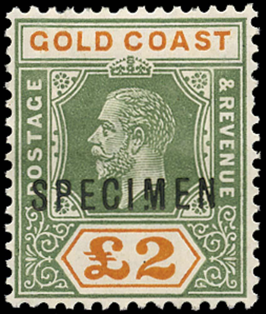GOLD COAST 1921  SG102s var Specimen Script watermark £2 Broken M