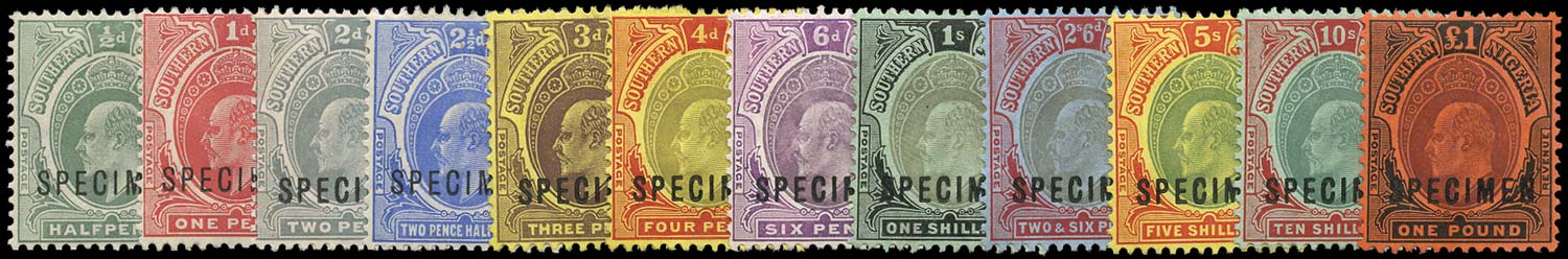SOUTHERN NIGERIA 1907  SG33s/44s Specimen New colours set of 12 to £1